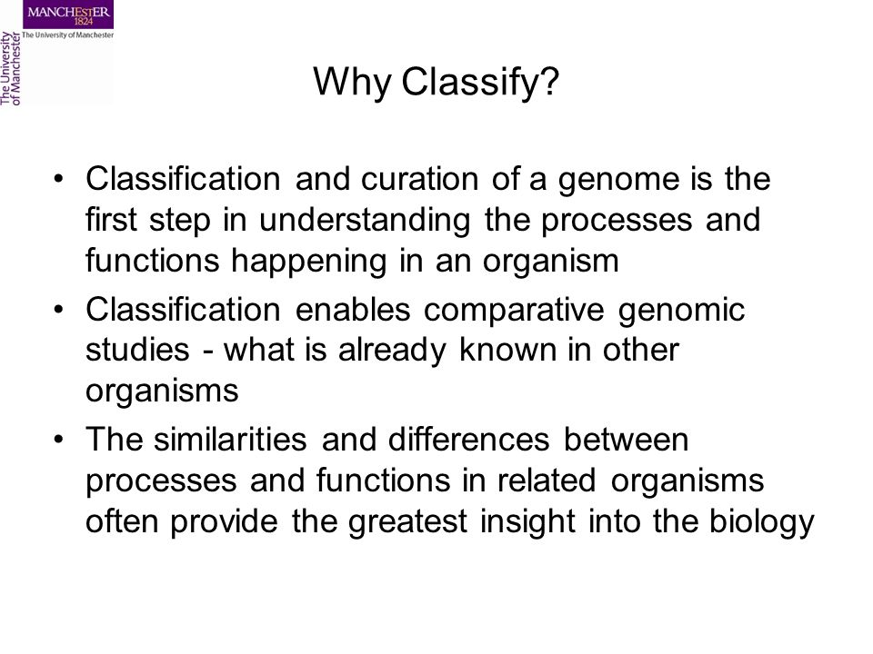 Why Classify? Classification and curation of a genome is the first step in understanding the processes and functions happening in an organism Classifi