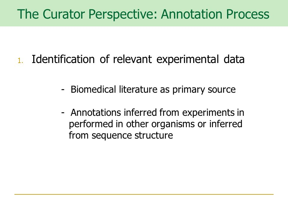 The Curator Perspective: Annotation Process 1.