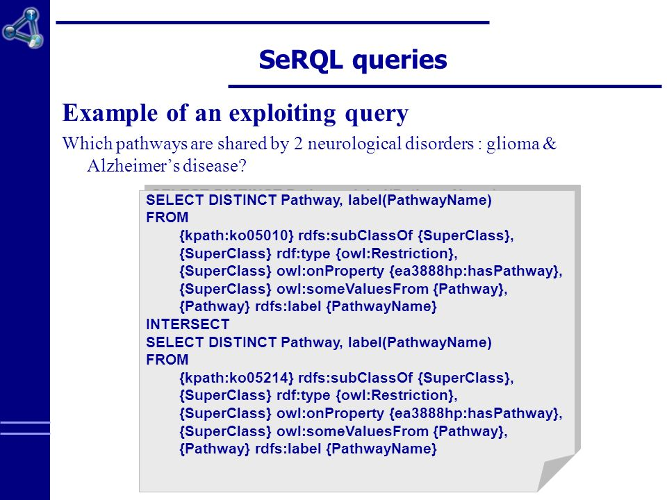 EA 3888 – University of Rennes 1 SeRQL queries Example of an exploiting query Which pathways are shared by 2 neurological disorders : glioma & Alzheimers disease.