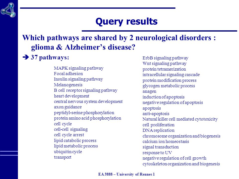 EA 3888 – University of Rennes 1 Query results Which pathways are shared by 2 neurological disorders : glioma & Alzheimers disease.