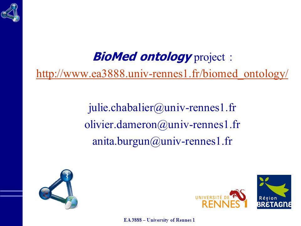 EA 3888 – University of Rennes 1 BioMed ontology project : http://www.ea3888.univ-rennes1.fr/biomed_ontology/ julie.chabalier@univ-rennes1.fr olivier.dameron@univ-rennes1.fr anita.burgun@univ-rennes1.fr