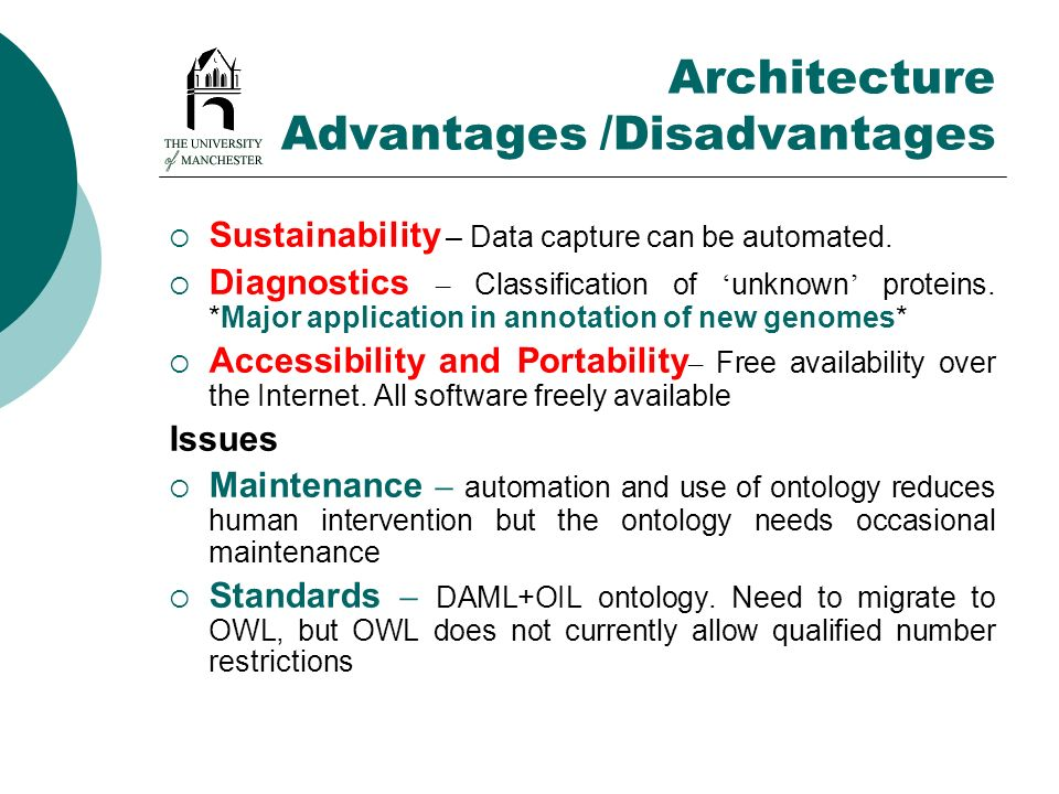 Architecture Advantages /Disadvantages Sustainability – Data capture can be automated. Diagnostics – Classification of unknown proteins. *Major applic