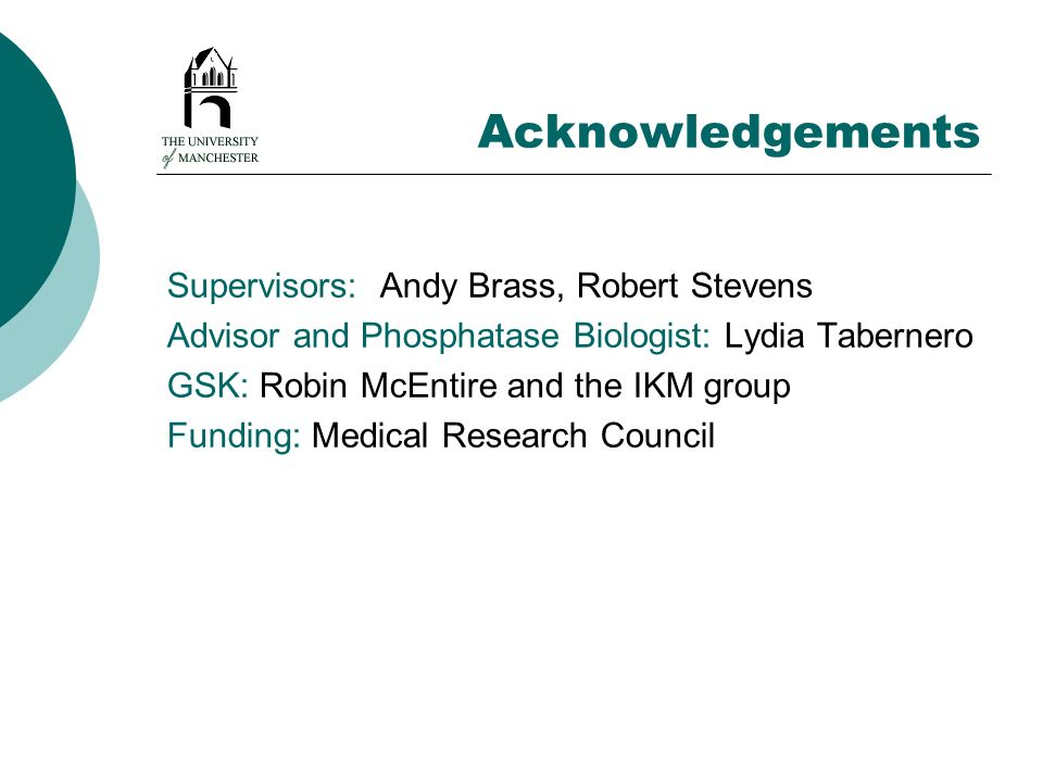 Acknowledgements Supervisors: Andy Brass, Robert Stevens Advisor and Phosphatase Biologist: Lydia Tabernero GSK: Robin McEntire and the IKM group Fund