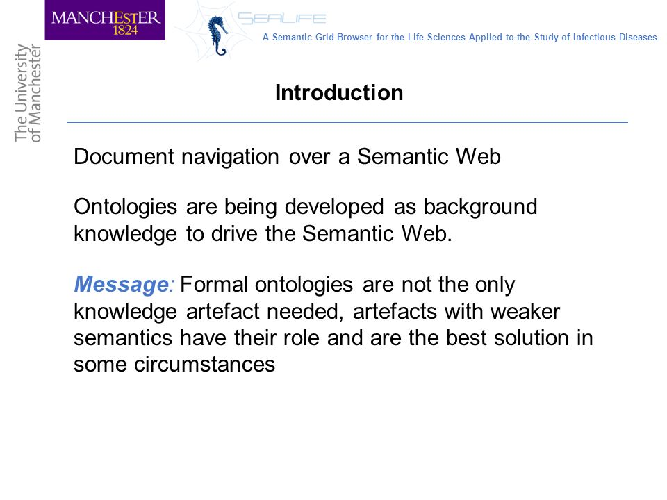 Document navigation over a Semantic Web Introduction Ontologies are being developed as background knowledge to drive the Semantic Web.
