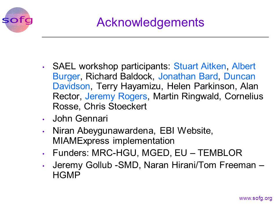 www.sofg.org Acknowledgements SAEL workshop participants: Stuart Aitken, Albert Burger, Richard Baldock, Jonathan Bard, Duncan Davidson, Terry Hayamiz