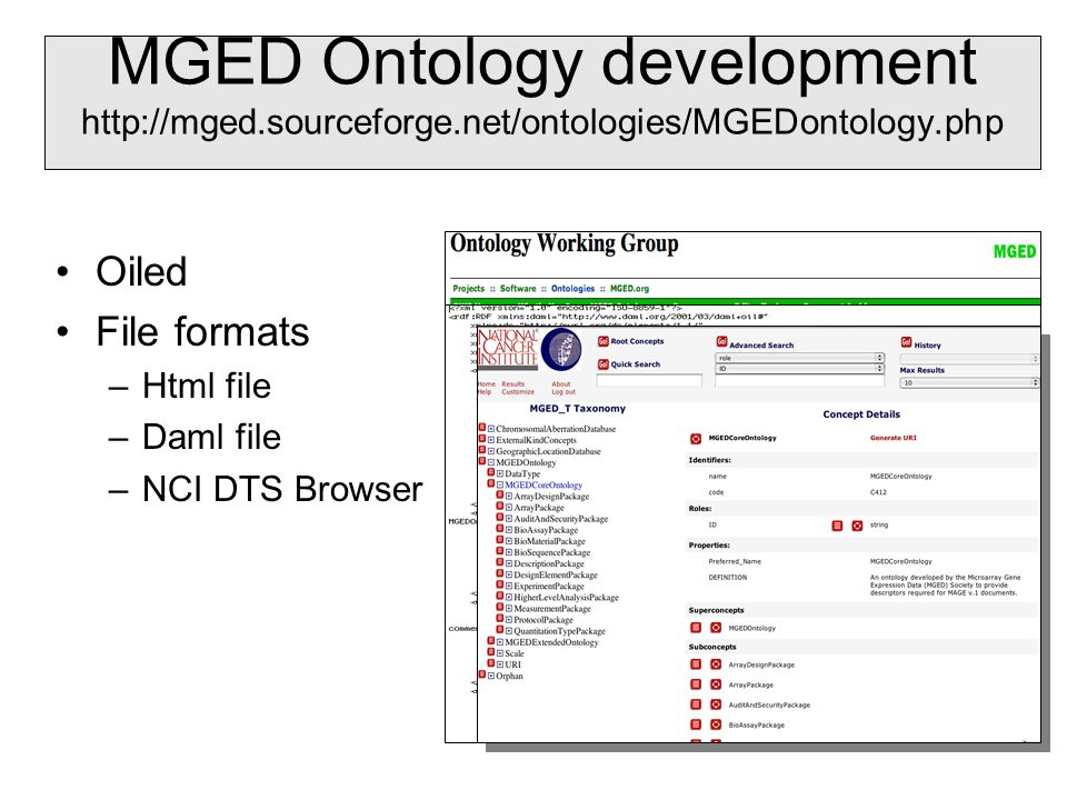 MGED Ontology development http://mged.sourceforge.net/ontologies/MGEDontology.php Oiled File formats –Html file –Daml file –NCI DTS Browser