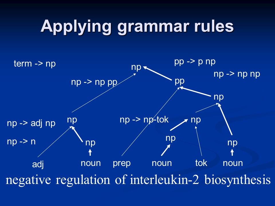 Applying grammar rules negative regulation of interleukin-2 biosynthesis adj nounprepnountoknoun np np -> n np np -> adj np npnp -> np-tok np np -> np np pp pp -> p np np np -> np pp term -> np