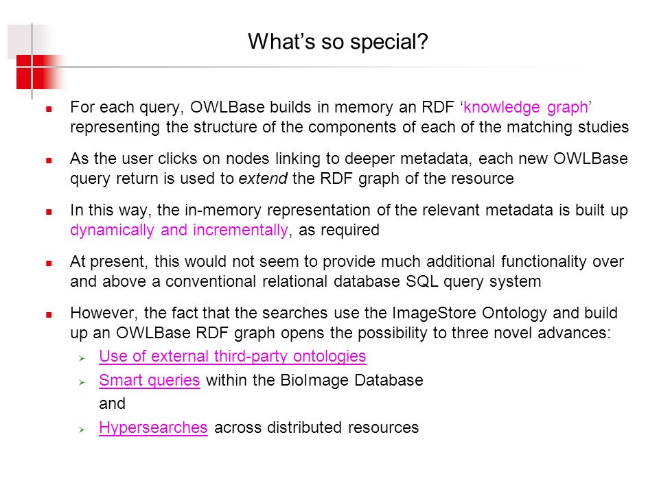 Whats so special? For each query, OWLBase builds in memory an RDF knowledge graph representing the structure of the components of each of the matching
