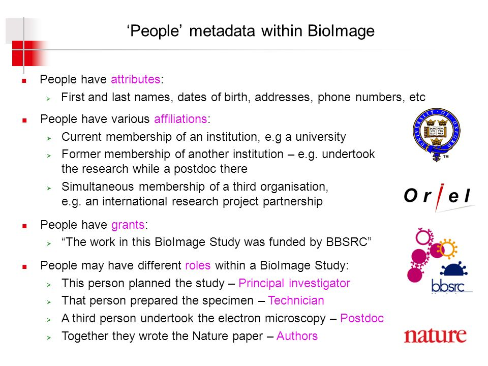People metadata within BioImage People have attributes: First and last names, dates of birth, addresses, phone numbers, etc People have various affiliations: Current membership of an institution, e.g a university Former membership of another institution – e.g.