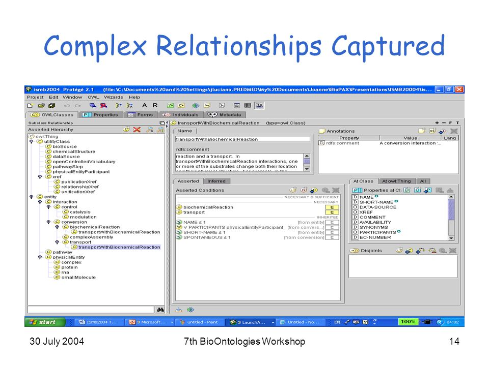 30 July 20047th BioOntologies Workshop14 Complex Relationships Captured
