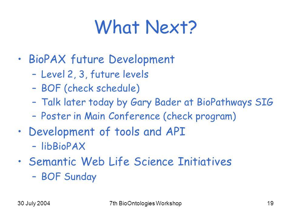 30 July 20047th BioOntologies Workshop19 What Next.