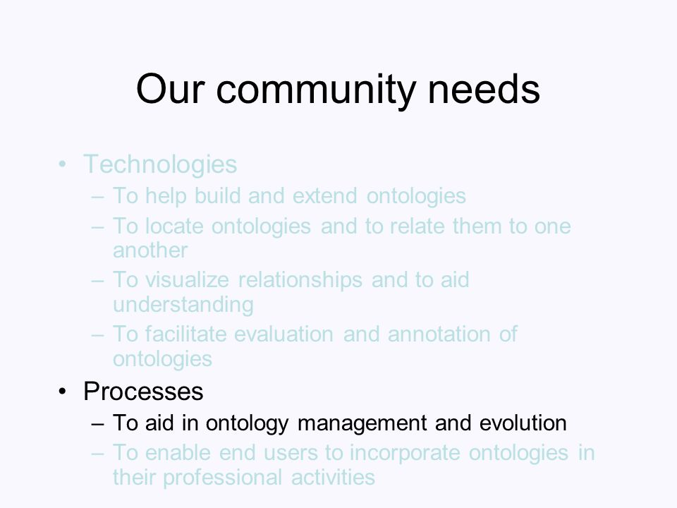 Our community needs Technologies –To help build and extend ontologies –To locate ontologies and to relate them to one another –To visualize relationsh
