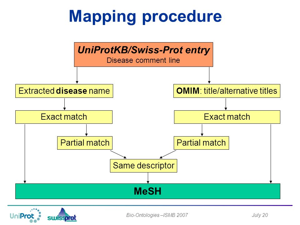July 20Bio-Ontologies –ISMB 2007 Mapping procedure UniProtKB/Swiss-Prot entry Disease comment line Extracted disease nameOMIM: title/alternative titles Exact match Partial match Same descriptor MeSH