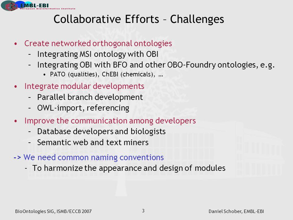 BioOntologies SIG, ISMB/ECCB 2007Daniel Schober, EMBL-EBI 3 Collaborative Efforts – Challenges Create networked orthogonal ontologies –Integrating MSI ontology with OBI –Integrating OBI with BFO and other OBO-Foundry ontologies, e.g.