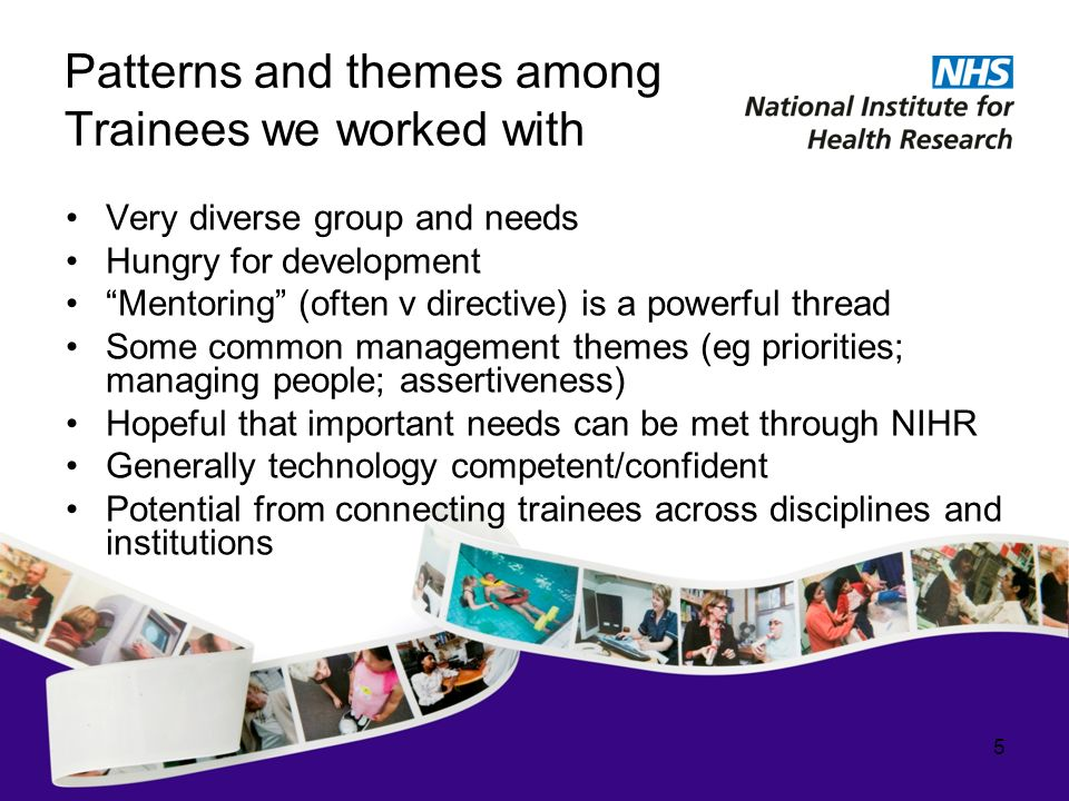 Patterns and themes among Trainees we worked with Very diverse group and needs Hungry for development Mentoring (often v directive) is a powerful thread Some common management themes (eg priorities; managing people; assertiveness) Hopeful that important needs can be met through NIHR Generally technology competent/confident Potential from connecting trainees across disciplines and institutions 5
