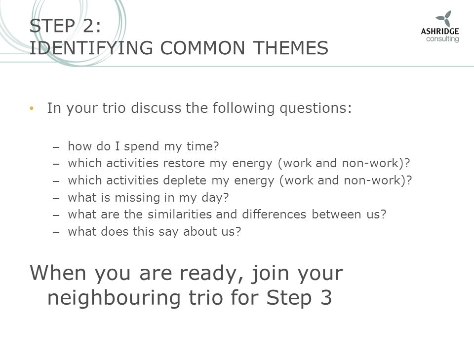 STEP 3: WORKING ON THE KEY ISSUE In your group of six, identify the key issue that is depleting your resources and that you would like to address as a group.