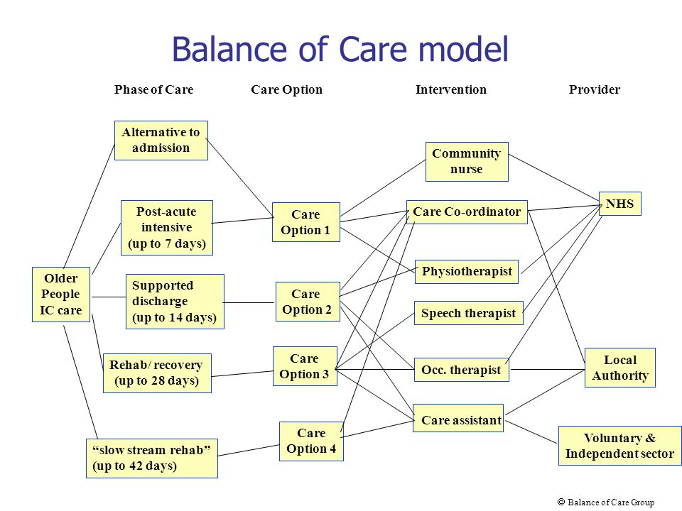 Balance of Care model Older People IC care Post-acute intensive (up to 7 days) slow stream rehab (up to 42 days) Supported discharge (up to 14 days) Community nurse Care Co-ordinator Voluntary & Independent sector NHS Local Authority Physiotherapist Care assistant Occ.