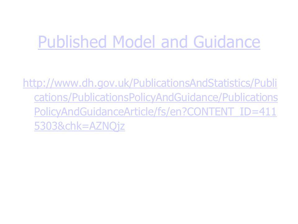 Published Model and Guidance http://www.dh.gov.uk/PublicationsAndStatistics/Publi cations/PublicationsPolicyAndGuidance/Publications PolicyAndGuidanceArticle/fs/en?CONTENT_ID=411 5303&chk=AZNQjz
