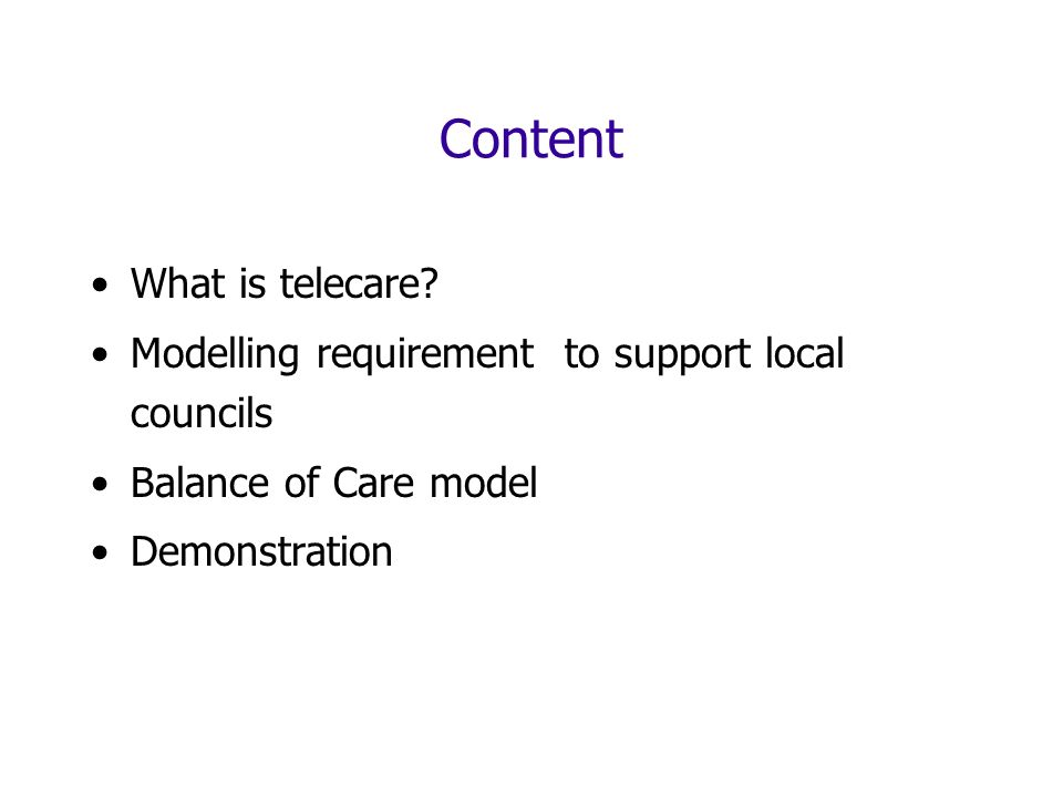 Content What is telecare.