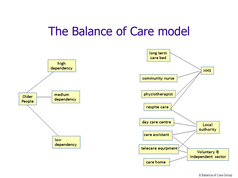Older People high dependency low dependency medium dependency long term care bed community nurse Voluntary & independent sector NHS Local Authority care home physiotherapist care assistant day care centre respite care The Balance of Care model telecare equipment © Balance of Care Group