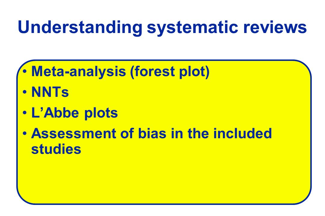 Understanding systematic reviews Meta-analysis (forest plot) NNTs LAbbe plots Assessment of bias in the included studies