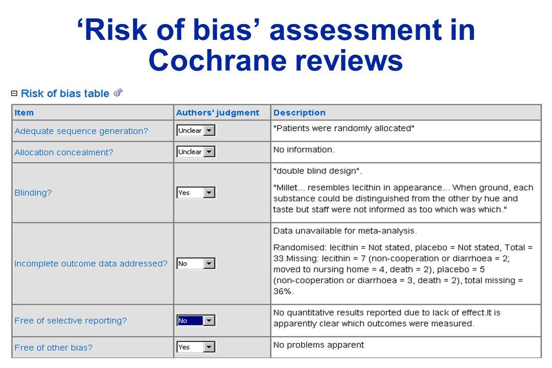 Risk of bias assessment in Cochrane reviews