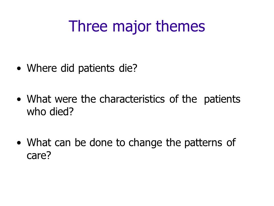 Three major themes Where did patients die? What were the characteristics of the patients who died? What can be done to change the patterns of care?