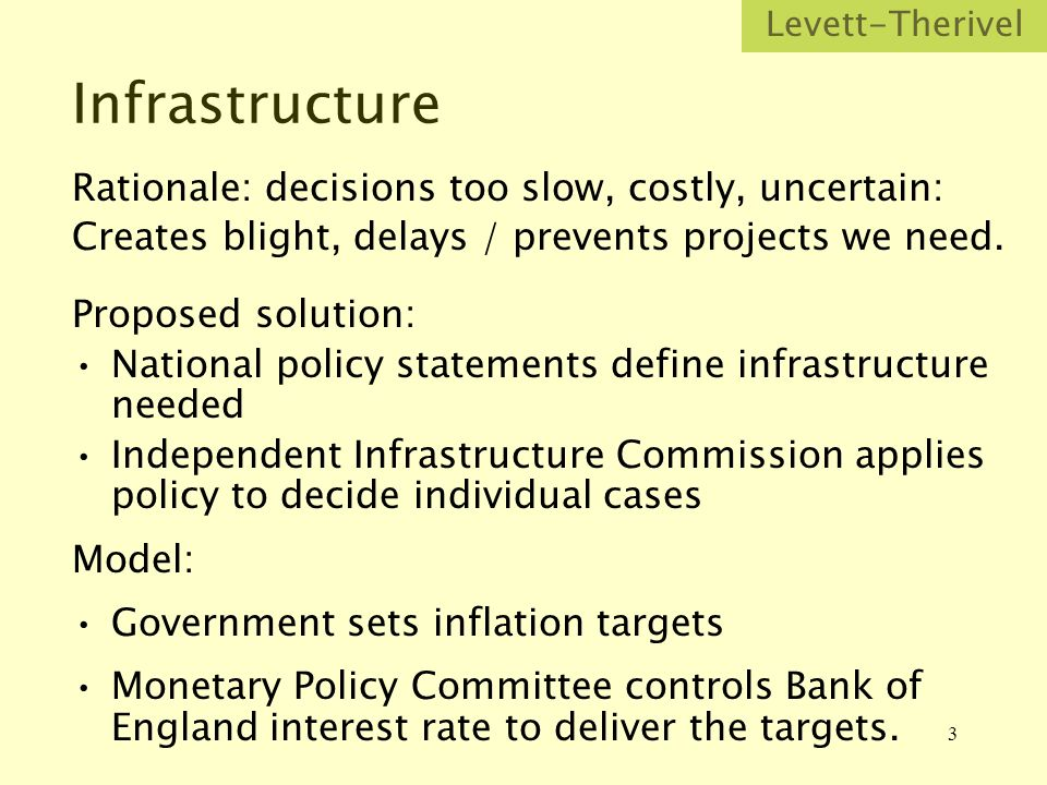 3 Infrastructure Rationale: decisions too slow, costly, uncertain: Creates blight, delays / prevents projects we need.
