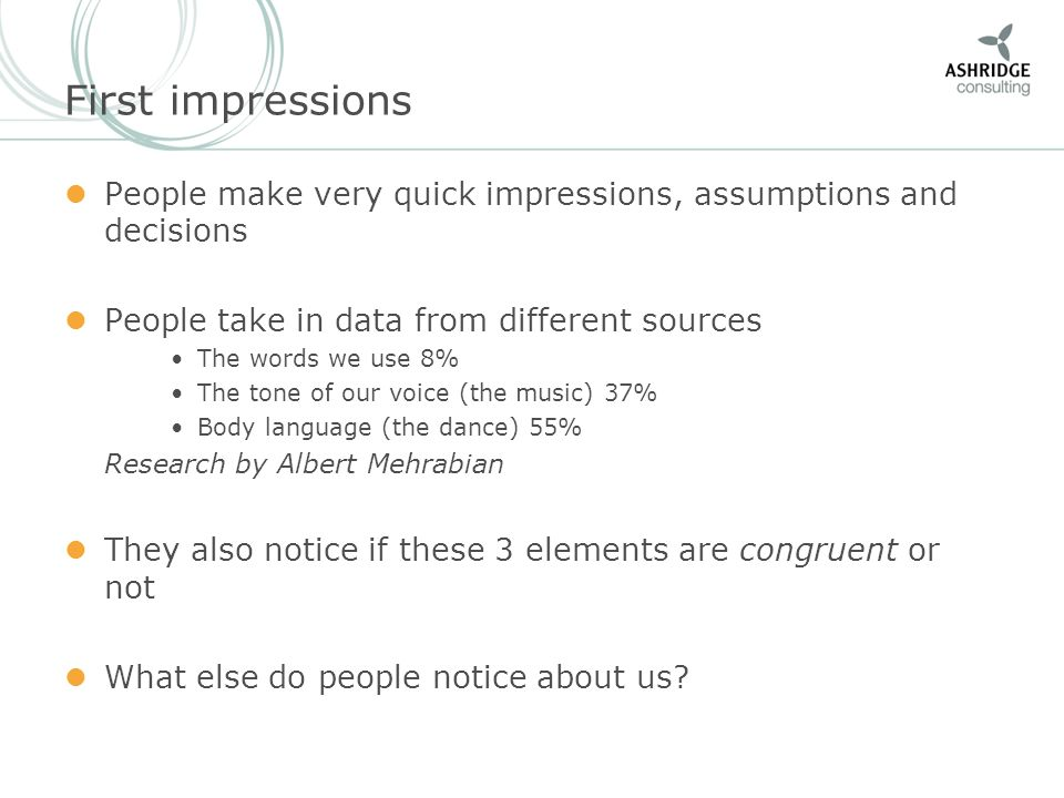 First impressions People make very quick impressions, assumptions and decisions People take in data from different sources The words we use 8% The ton