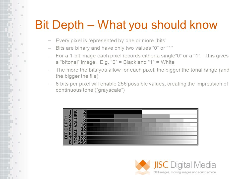 Bit Depth – What you should know –Every pixel is represented by one or more bits –Bits are binary and have only two values 0 or 1 –For a 1-bit image e