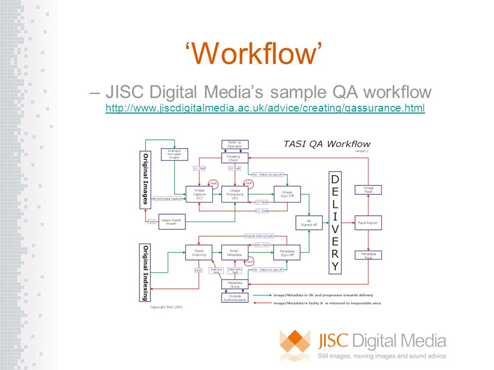 Workflow –JISC Digital Medias sample QA workflow http://www.jiscdigitalmedia.ac.uk/advice/creating/qassurance.html http://www.jiscdigitalmedia.ac.uk/a
