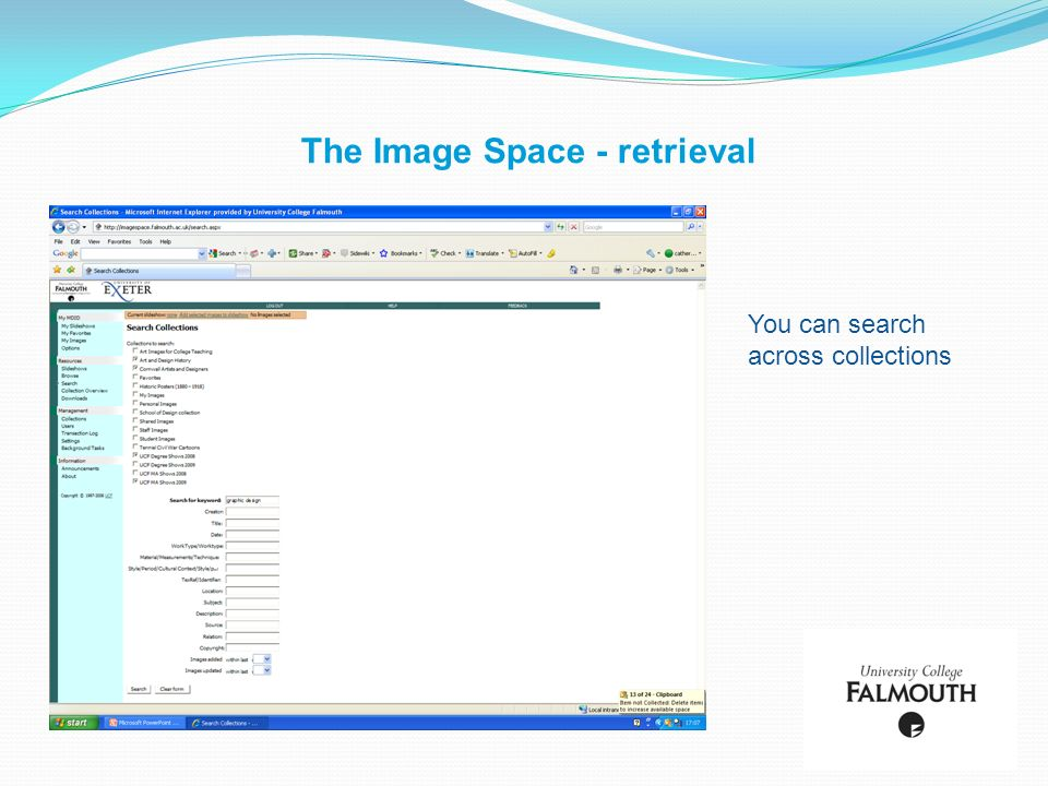 The Image Space - retrieval You can search across collections