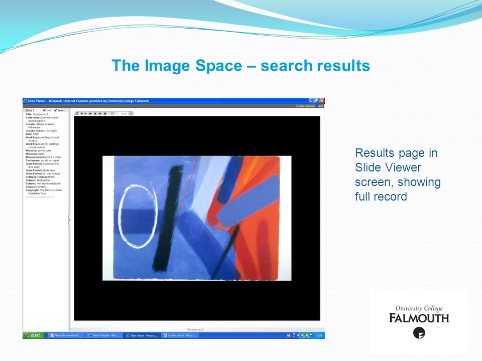 The Image Space – search results Results page in Slide Viewer screen, showing full record