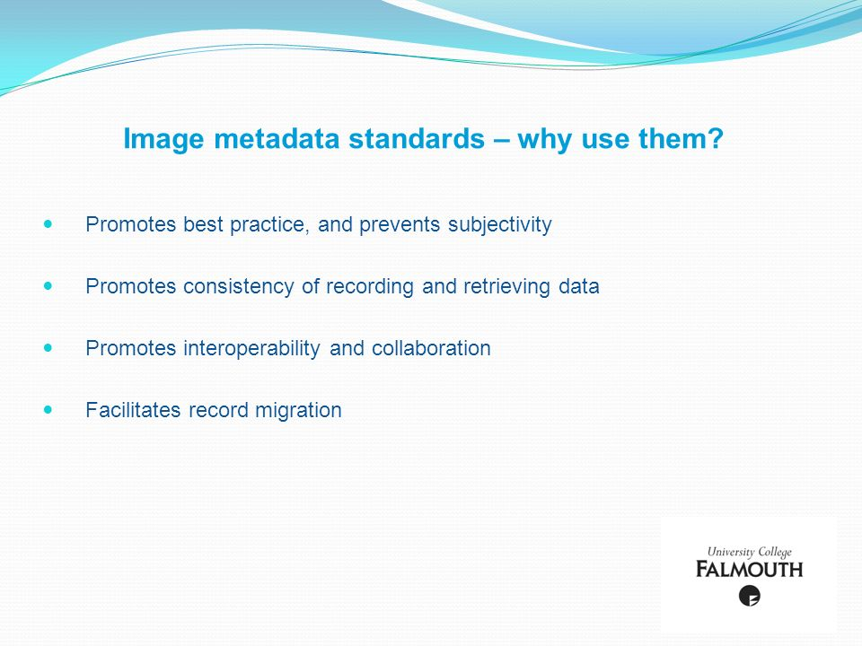 Image metadata standards – why use them? Promotes best practice, and prevents subjectivity Promotes consistency of recording and retrieving data Promo