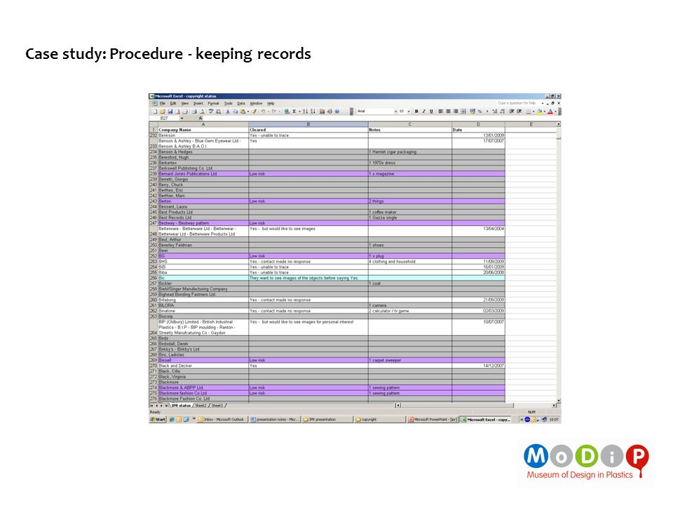 Case study: Procedure - keeping records