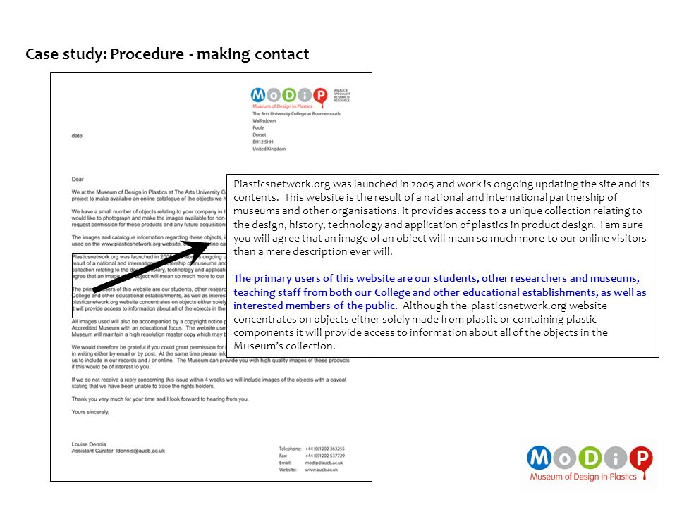 Case study: Procedure - making contact Plasticsnetwork.org was launched in 2005 and work is ongoing updating the site and its contents. This website i