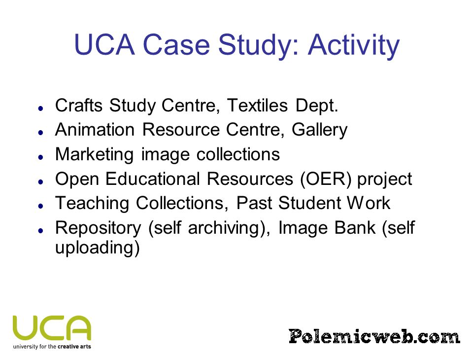 UCA Case Study: Activity Crafts Study Centre, Textiles Dept. Animation Resource Centre, Gallery Marketing image collections Open Educational Resources