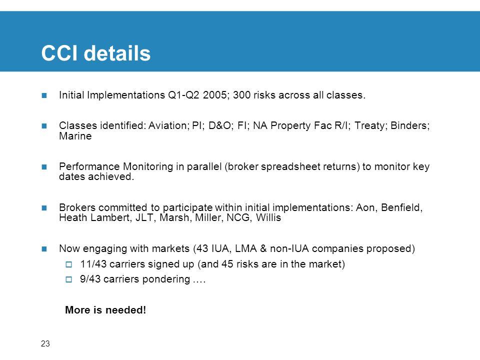 23 CCI details Initial Implementations Q1-Q2 2005; 300 risks across all classes. Classes identified: Aviation; PI; D&O; FI; NA Property Fac R/I; Treat