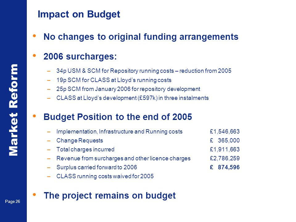 Market Reform Electronic Claims Page 26 Impact on Budget No changes to original funding arrangements 2006 surcharges: –34p USM & SCM for Repository running costs – reduction from 2005 –19p SCM for CLASS at Lloyds running costs –25p SCM from January 2006 for repository development –CLASS at Lloyds development (£597k) in three instalments Budget Position to the end of 2005 –Implementation, Infrastructure and Running costs£1,546,663 –Change Requests £ 365,000 –Total charges incurred£1,911,663 –Revenue from surcharges and other licence charges£2,786,259 –Surplus carried forward to 2006£ 874,596 –CLASS running costs waived for 2005 The project remains on budget