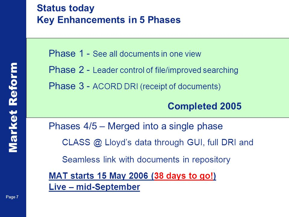 Market Reform Electronic Claims Page 7 Status today Key Enhancements in 5 Phases Phase 1 - See all documents in one view Phase 2 - Leader control of file/improved searching Phase 3 - ACORD DRI (receipt of documents) Completed 2005 Phases 4/5 – Merged into a single phase CLASS @ Lloyds data through GUI, full DRI and Seamless link with documents in repository MAT starts 15 May 2006 (38 days to go!) Live – mid-September