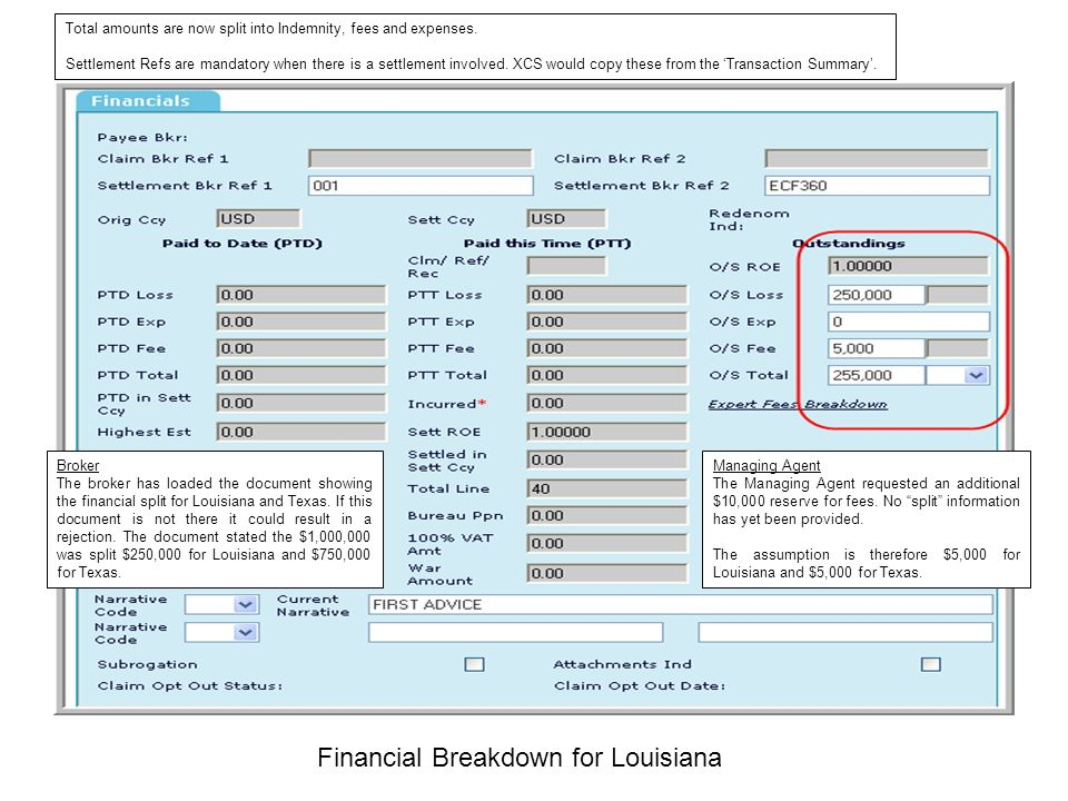 Financial Breakdown for Louisiana Broker The broker has loaded the document showing the financial split for Louisiana and Texas. If this document is n