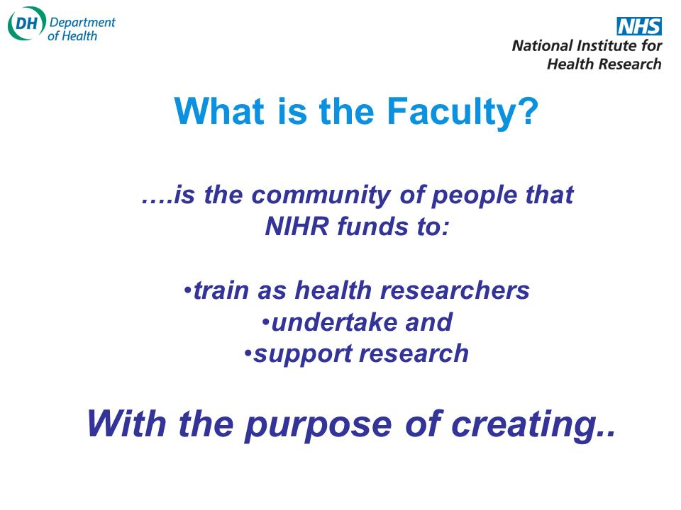 Investigators & Senior Investigators Associates Faculty Trainees a vibrant community focused on research and innovation to improve the health and well-being of the nation