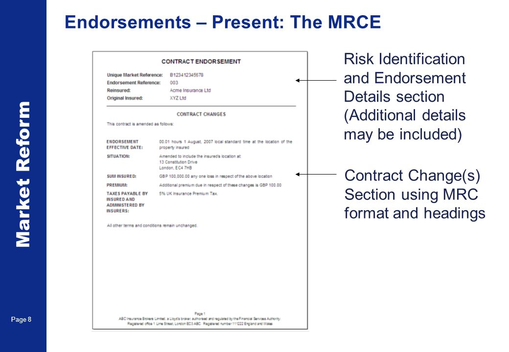 Market Reform Page 8 Endorsements – Present: The MRCE Risk Identification and Endorsement Details section (Additional details may be included) Contrac