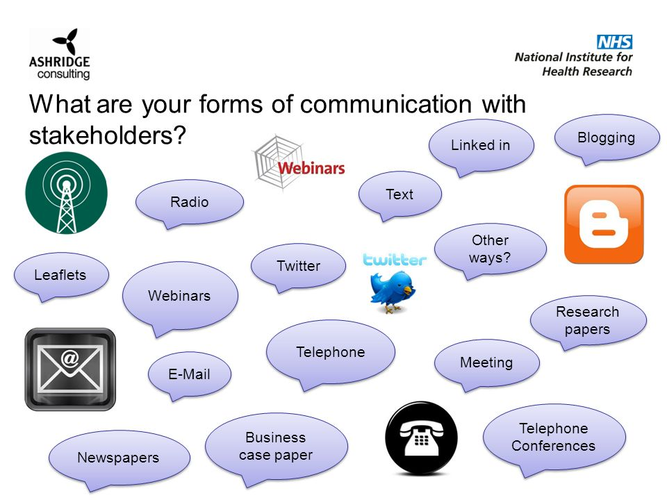 What are your forms of communication with stakeholders.