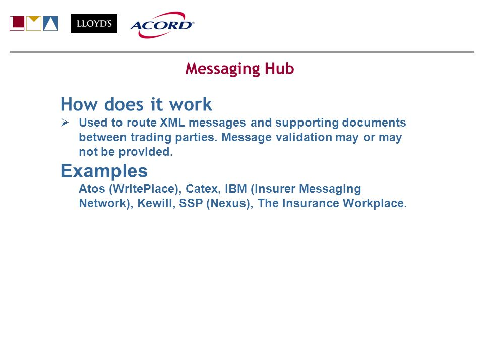 How does it work Used to route XML messages and supporting documents between trading parties.