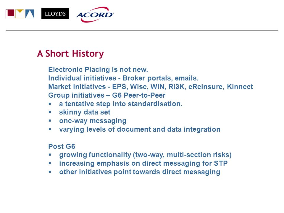 A Short History Electronic Placing is not new. Individual initiatives - Broker portals, emails. Market initiatives - EPS, Wise, WIN, Ri3K, eReinsure,