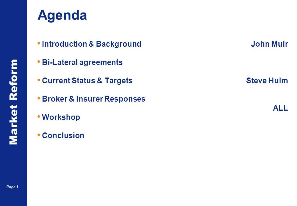 Market Reform Page 1 Agenda Introduction & Background Bi-Lateral agreements Current Status & Targets Broker & Insurer Responses Workshop Conclusion John Muir Steve Hulm ALL