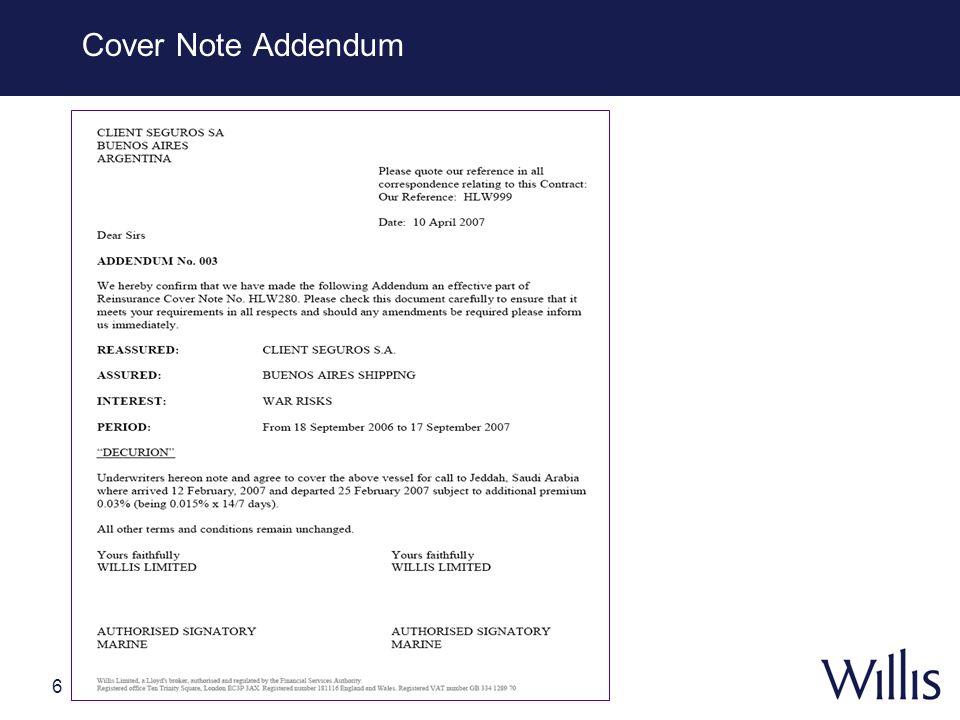 6 Cover Note Addendum