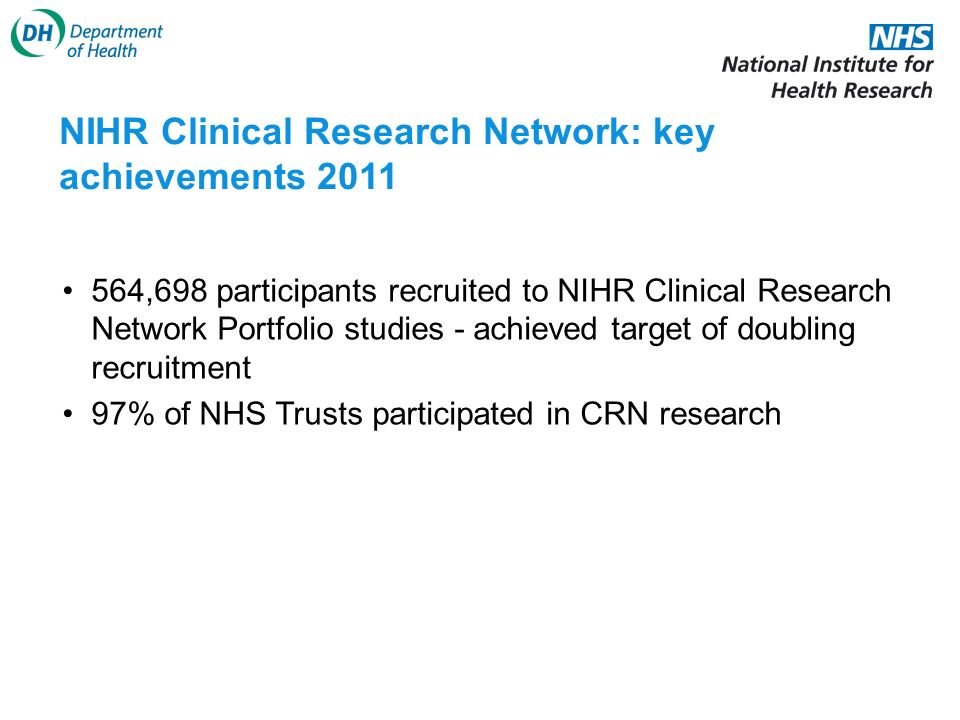 564,698 participants recruited to NIHR Clinical Research Network Portfolio studies - achieved target of doubling recruitment 97% of NHS Trusts participated in CRN research NIHR Clinical Research Network: key achievements 2011