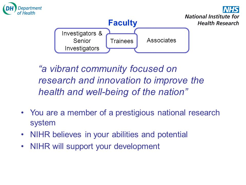Investigators & Senior Investigators Associates Faculty Trainees a vibrant community focused on research and innovation to improve the health and well-being of the nation You are a member of a prestigious national research system NIHR believes in your abilities and potential NIHR will support your development